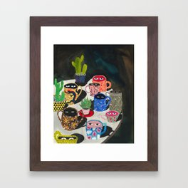 Suspicious mugs Framed Art Print
