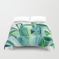 emerald Duvet Covers featuring Emerald Watercolor by Cat Coquillette