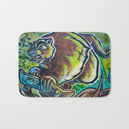 Skateboarding Bear Bath Mat