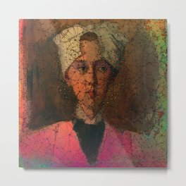 Portrait of woman with a headscarf Metal Print