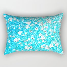 turquoise blue white floral pattern Rectangular Pillow