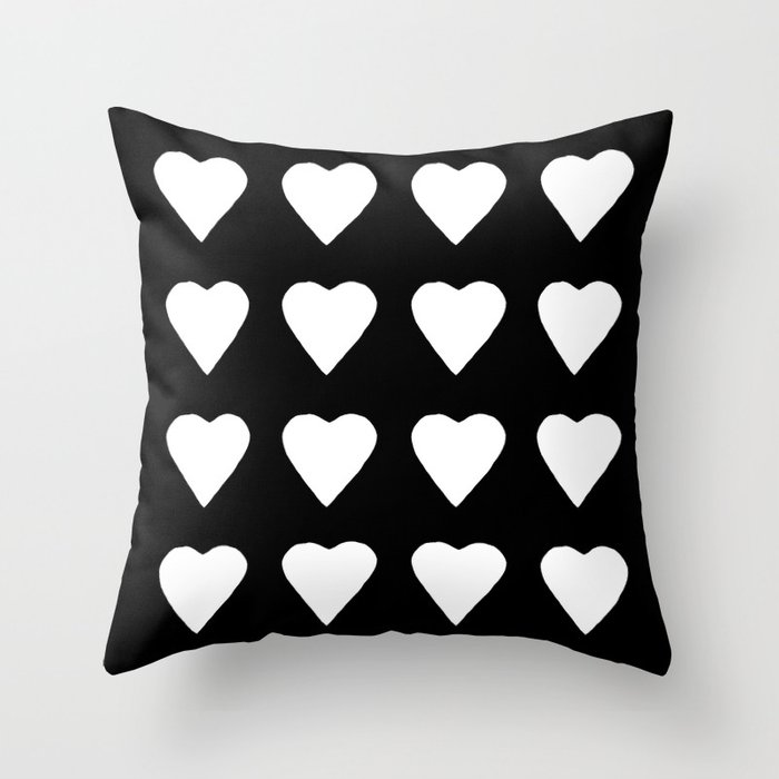16 Hearts White on Black Throw Pillow