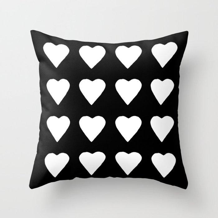 16 Hearts White on Black Throw Pillow
