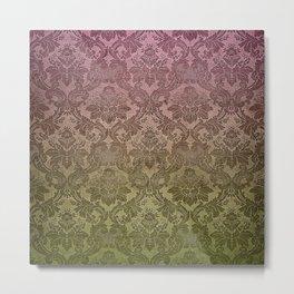 Vintage Pastel Pink and Green Damask Pattern Metal Print
