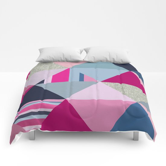 Pink, Blue and Silver Triangles Comforters