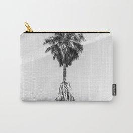 Malibu Beach Palm // Black and White California Beach Vibes Jetstream Sky Photograph Carry-All Pouch