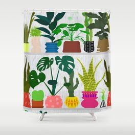 Plants on the Shelf in Gray + White Wood Shower Curtain