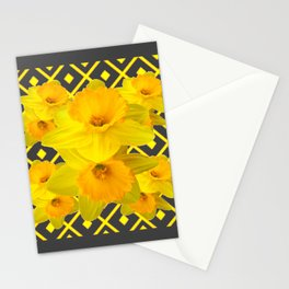 Golden Spring Daffodils Charcoal Grey Art Stationery Cards