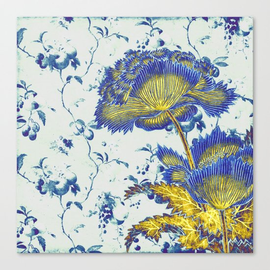 floral chinoiserie in blue and gold Canvas Print