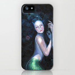 Lady of the Deep Mermaid Oil Painting iPhone Case