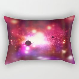 An outer space theme with planets, sky and stars.  Rectangular Pillow