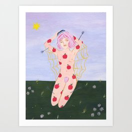 Apple Girl Brushing Her Hair Art Print