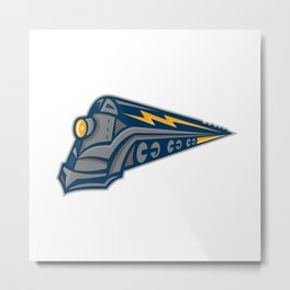 Steam Locomotive Lightning Bolt Mascot Metal Print