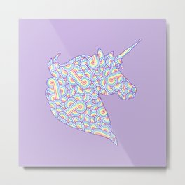 Rainbow and white swirls doodles Metal Print