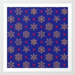 Christmas Snowflakes&Stars Blue&Gold Art Print