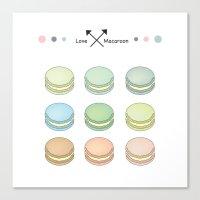 macaroon Canvas Prints featuring Macaroon sweet love by MiartDesignCreation