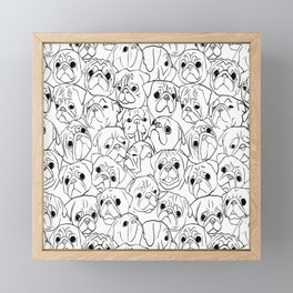 Pugs Line Drawing Framed Mini Art Print