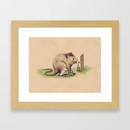 Potsie the Wicketkeeping Potoroo. Framed Art Print