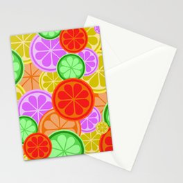 FRUITY CITRUS PATTERN BIG BOLD ORANGES LEMONS AND PINK GRAPEFRUIT WITH LIMES Stationery Cards