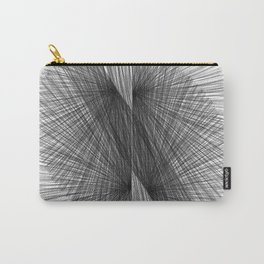 Black & White Mid Century Modern Radiating Lines Geometric Abstract Carry-All Pouch