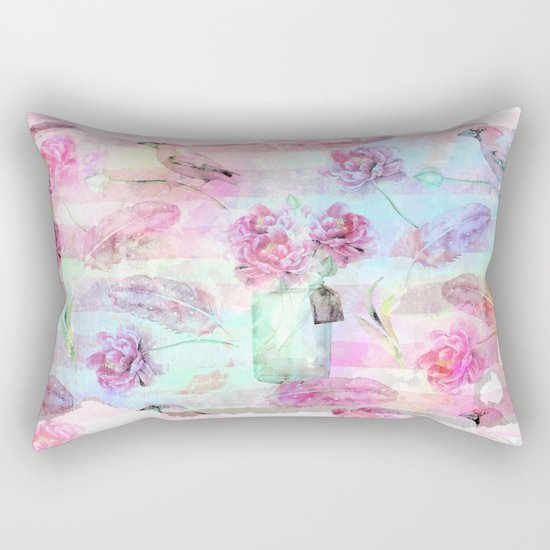 Summer pattern - Floral Flowers in pink on #Society6 Rectangular Pillow