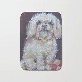 BICHON Cute white dog portrait Oil painting Pet portrait Bath Mat