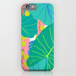 Elephant Ear Leaves + Sea Grapes iPhone Case