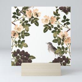 Blackberry Spring Garden - Birds and Bees Cream Flowers Mini Art Print