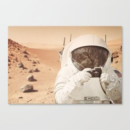 Astronaut Cat on Mars Canvas Print