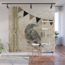 Crow, Brown Banner, Doily, Digital Design Wall Mural