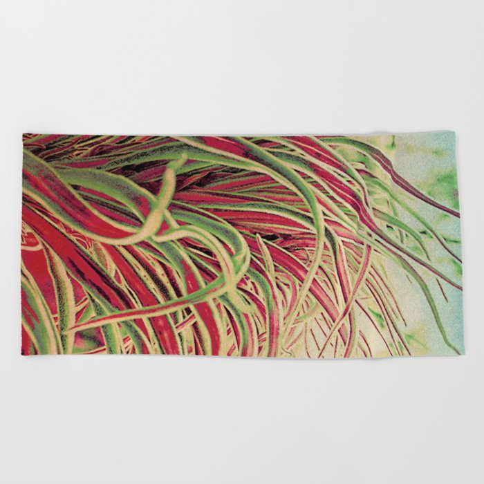 Green & red succulent. Beach Towel