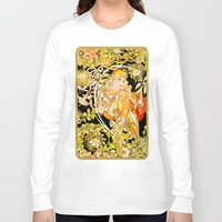 mucha Long Sleeve T-shirts featuring Marguerite's Bower, Mucha by Vintage Era Art