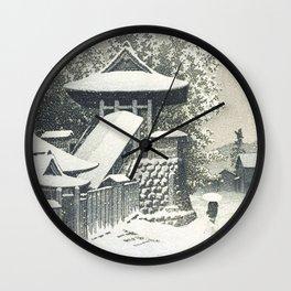 Hasui Kawase, Bell Tower, Mount Koya, Wakayama In Snow - Vintage Japanese Woodblock Print Art Wall Clock