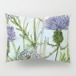 Thistle White Lace Watercolor Pillow Sham