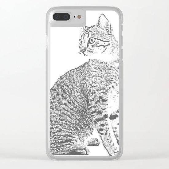 Cat Sketch Clear iPhone Case
