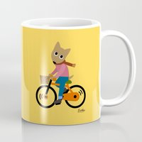 cycling Mugs featuring Sam's Cycling by BATKEI