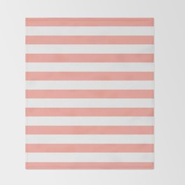Simply Striped in Salmon Pink and White Throw Blanket