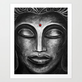 Feminine Buddha Face Art Print Art Print