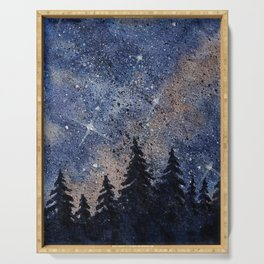 Pine trees and galaxies watercolor Serving Tray