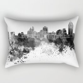 Cincinnati skyline in black watercolor Rectangular Pillow