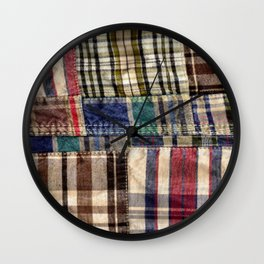 Patchwork Plaid / Tartan with stitch image Wall Clock