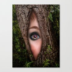 Beautiful Face trapped in a tree trunk Canvas Print