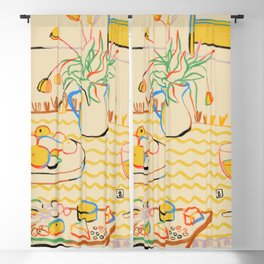 YELLOW TULIPS, WINE AND CHEESE Blackout Curtain