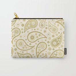 Paisley Funky Design Gold & Cream Carry-All Pouch