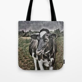 Melancholic Black White Dutch Cow Tote Bag