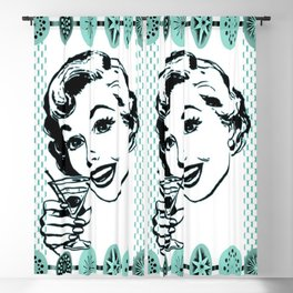 Mid-Century Modern Art Cocktail Teal Blackout Curtain