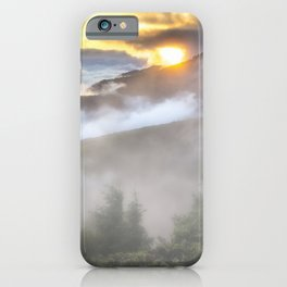 Sunrise and Dust - Mountains - Forest - Wood - Trees - Fog iPhone Case