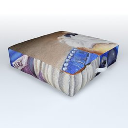 Celebration In Blue Cupcake Painting Outdoor Floor Cushion