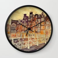 takmaj Wall Clocks featuring Amsterdam by takmaj