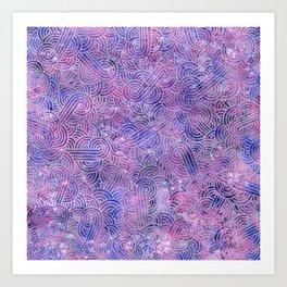 Purple and faux silver swirls doodles Art Print